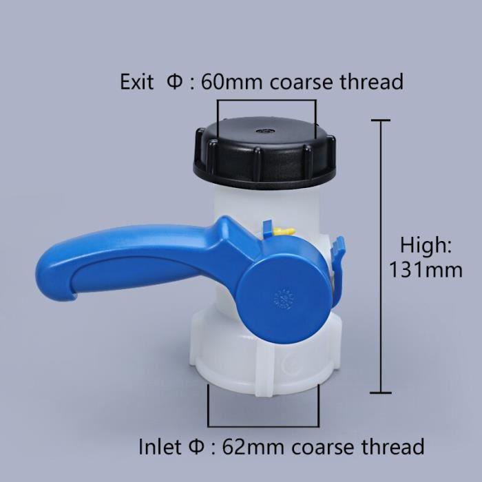 Vanne papillon en plastique DN40 pour conteneur de réservoir IBC 1000L commutateur adaptateur de réservoir IBC~Marron DY10499