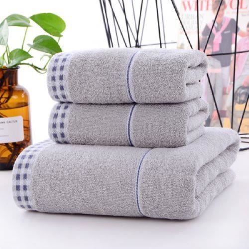 Serviette et serviette de bain 3 pièces ensemble de coffret cadeau ménage couleur unie pur coton gris