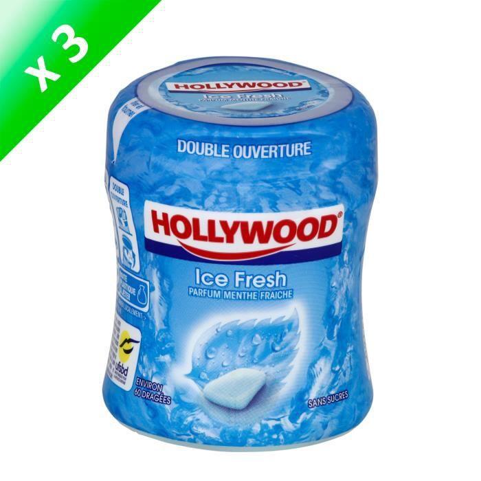 [LOT DE 3] Hollywood Icefresh Bottle chewing-gum menthe fraîche sans sucres 60 dragées