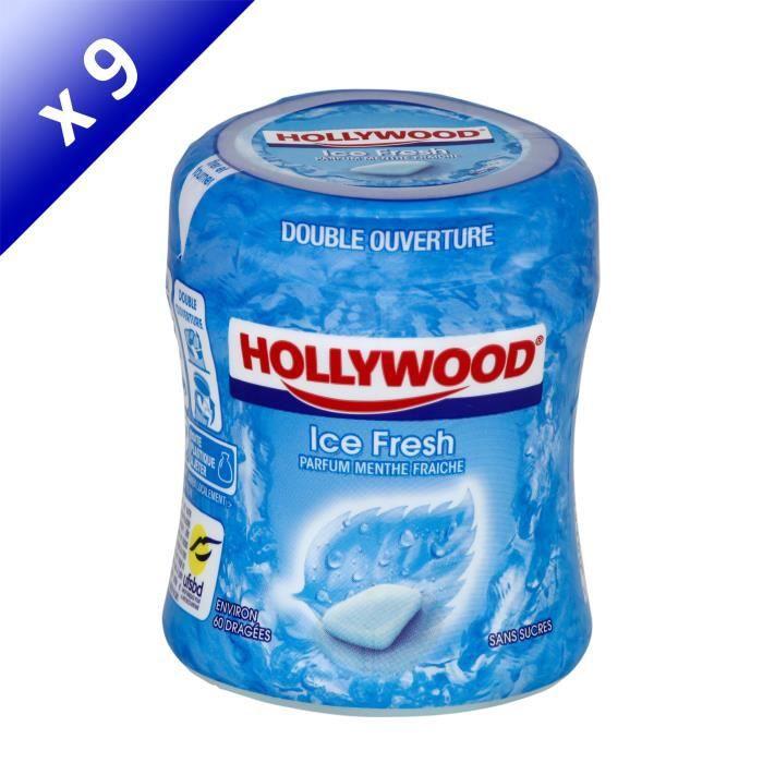[LOT DE 9] Hollywood Icefresh Bottle chewing-gum menthe fraîche sans sucres 60 dragées