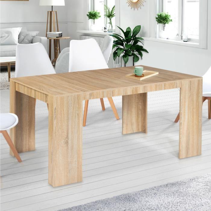 IDMARKET Table console extensible ORLANDO 6 personnes 140 cm bois façon hêtre
