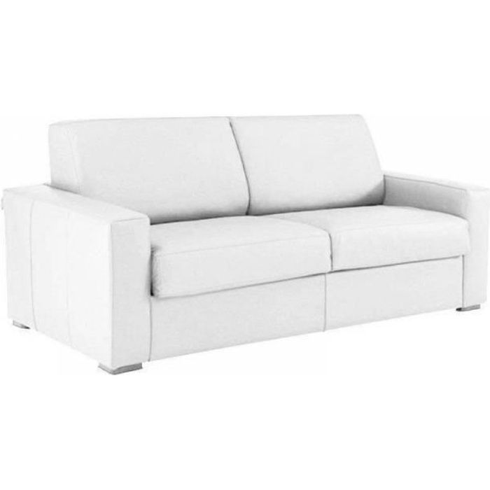 Canapé convertible EXPRESS 140cm DREAMER polyuréthane blanc,. matelas 16 cm blanc Cuir Inside75
