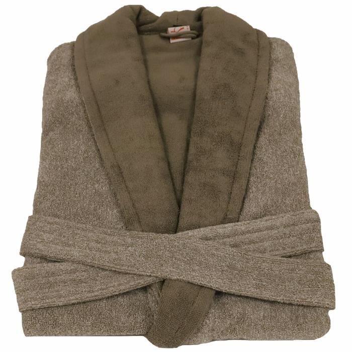 LINANDELLE - Peignoir homme en coton bouclette éponge rasée BICOLORE - Taupe - Adulte Homme - S