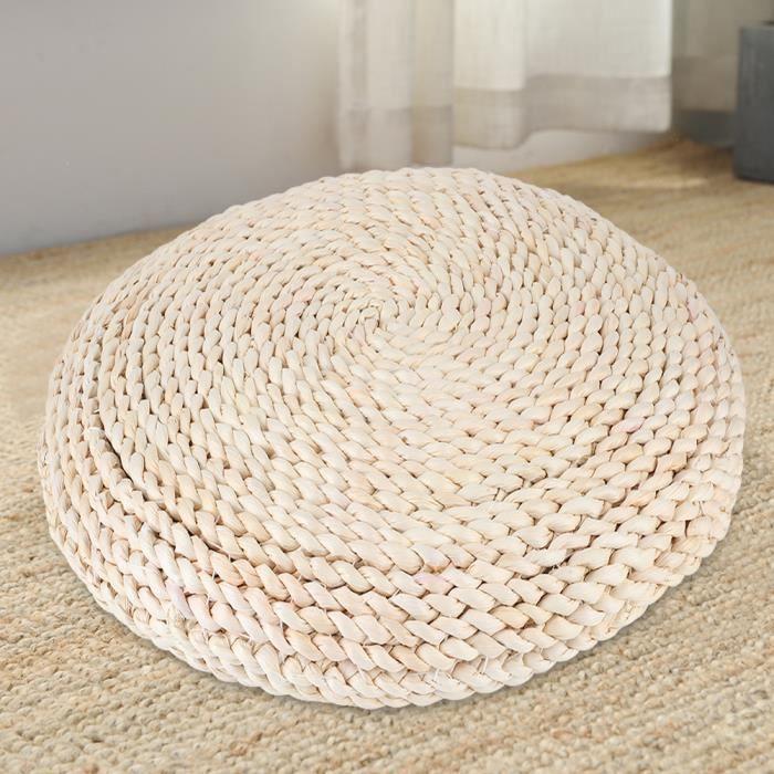 JARD-Tapis de pouf de sol tissé à la main de tatami rond de style japonais pour le yoga de méditation☪Lv.life☪NIM