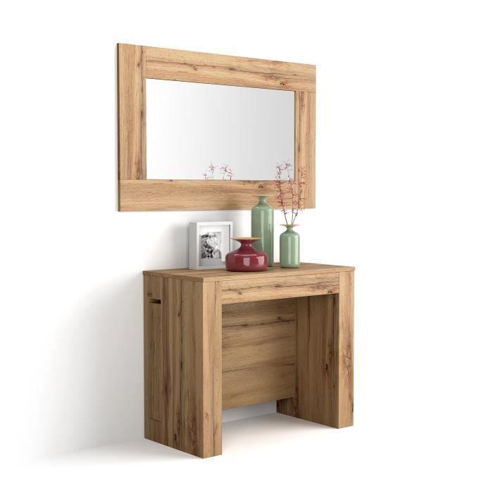Mobili Fiver, Table Console Extensible avec rallonges intégrées, Easy, Bois Rustique, CNSESY x x 90 x 45 x 76 cm cm,