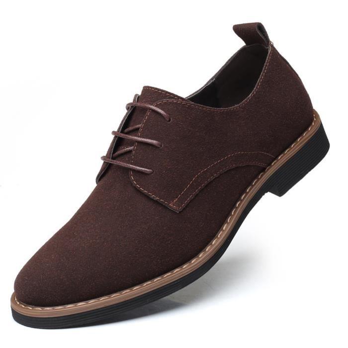 Chaussures Loisir Homme Nubuck Lacets Daim Richelieus Léger Casual Plat Grande Taille Petite Taille Classique 38-48 Marron