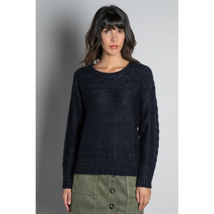 DEELUXE Pull tricoté avec lurex ANGELLE Navy Lurex