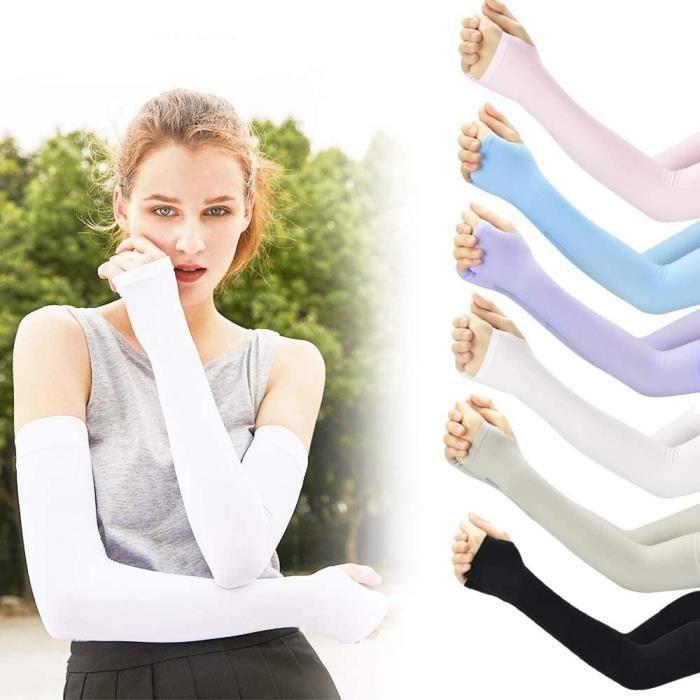 Manchettes de Bras, 6 paires de manchons anti-humidité avec trous pour couvrir les manchettes pour une protection UV