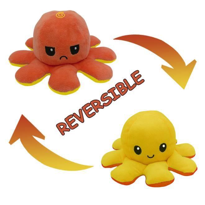 Jouet en Peluche Pieuvre Mignonne Double Face Flip Octopus en Peluche, Mignon Poulpe Jouets
