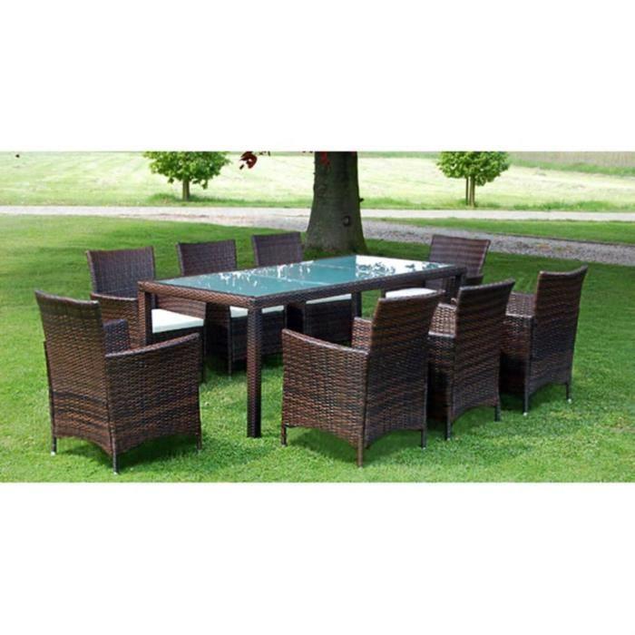Luxueux Magnifique Moderne-Mobilier à dîner-Salon jardin 9 pcs et coussins Résine tressée Marron