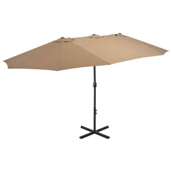 Luxueux Haute qualité Magnifique Economique Parasol d'extérieur et poteau en aluminium 460 x 270 cm Taupe