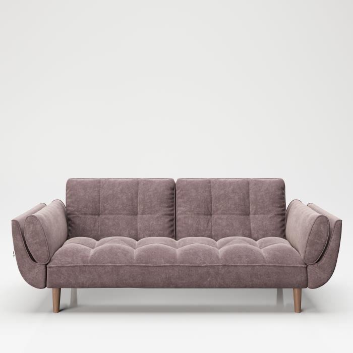 CANAPE SOFA SCARLETT VELOUR ROSE ANTIQUE CONVERTIBLE, pieds stables en bois massif, canapé-lit avec dossier réglable