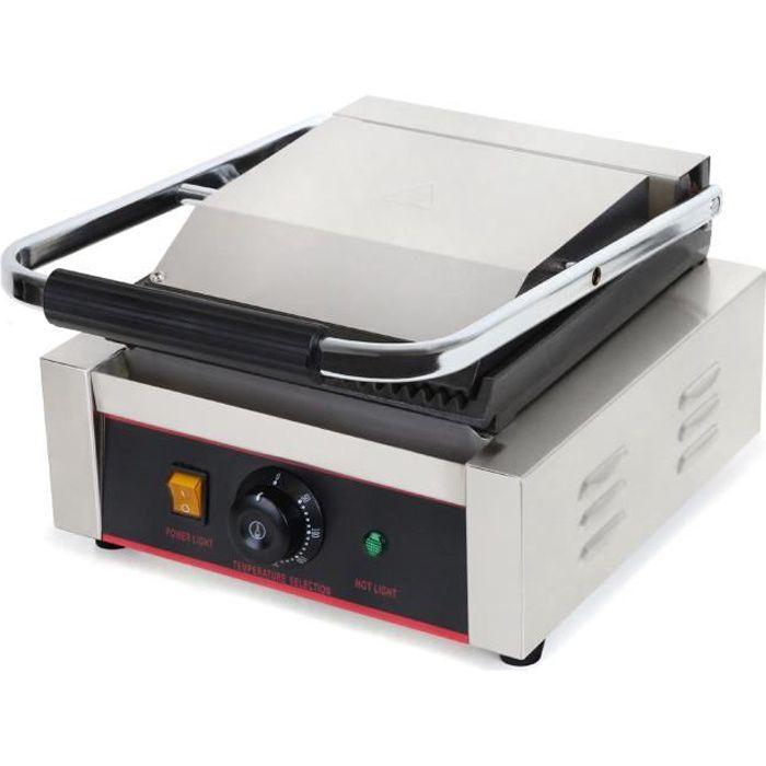 Vertes 1800W Grill de Contact (300 °C Température maximale, Rainure sur les deux Côtés, Collecteur de graisse, Pieds en caoutchouc)