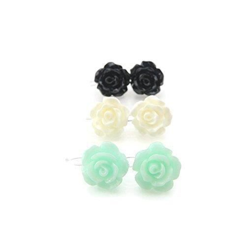 Womens Invisible Clip On 10mm Rose Earrings For Non-pierced Ears, Set Aqua, White, Black TS706