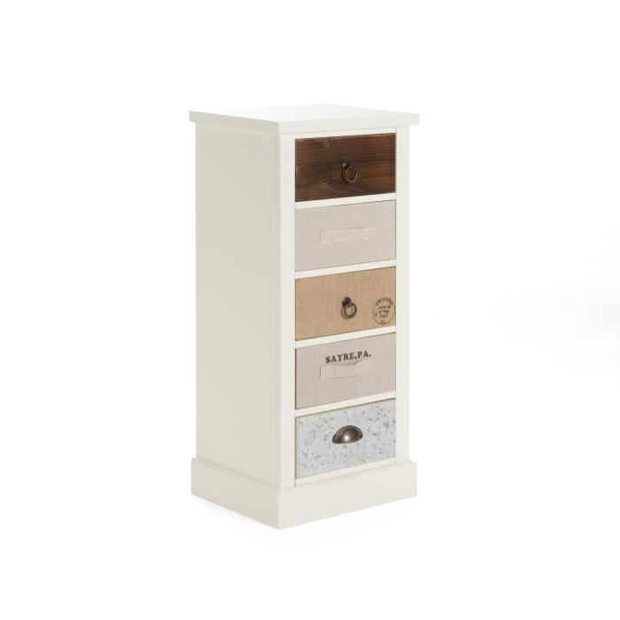 petite commode blanche june avec 5 tiroirs multicolores massivum achat vente commode de. Black Bedroom Furniture Sets. Home Design Ideas
