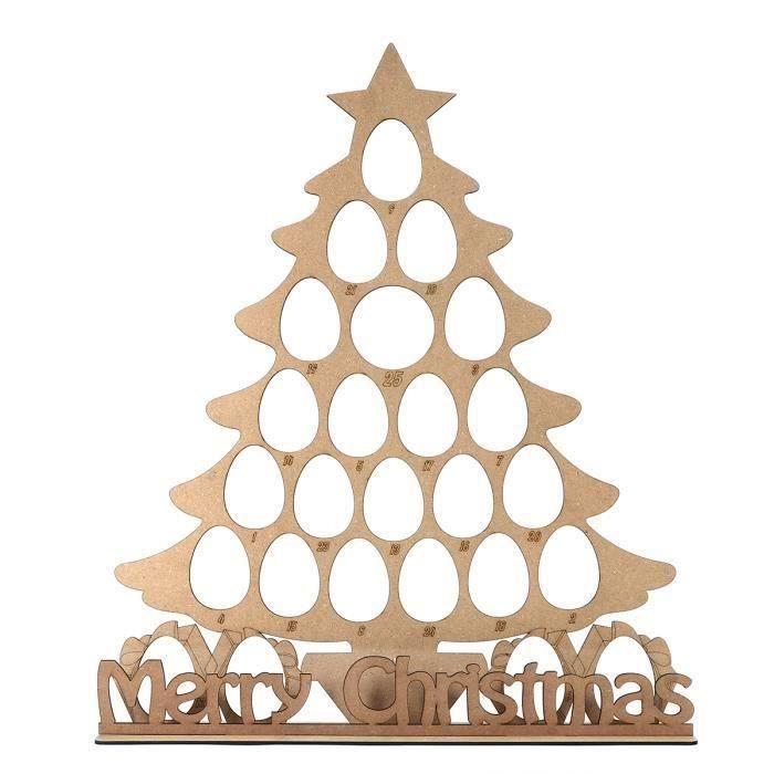Sapin Calendrier De Lavent.Tempsa Calendrier De L Avent Bois Sapin Noel Pr 24 Chocolats Ovales Stand Support Decor 58x50cm