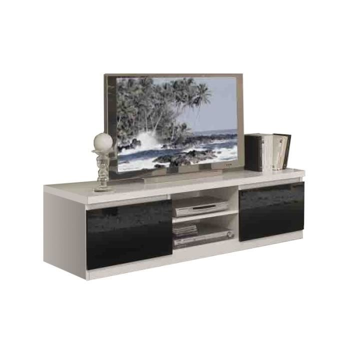 meuble tv plasma roma blanc et noir laqu achat vente meuble tv meuble tv plasma roma blanc. Black Bedroom Furniture Sets. Home Design Ideas