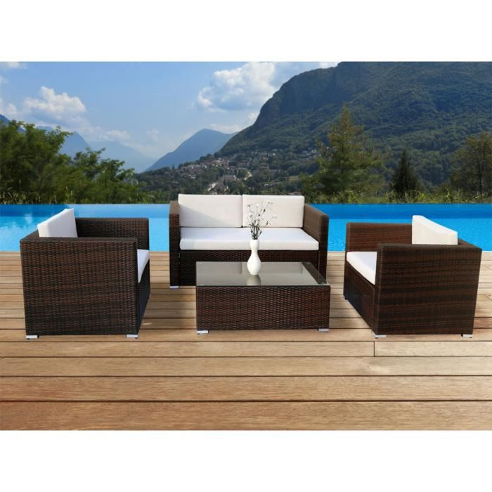 salon de jardin r sine tress e marron bilbao achat. Black Bedroom Furniture Sets. Home Design Ideas