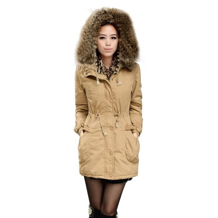 manteau femme parka hiver fourrure avec capuche kaki achat vente manteau caban cdiscount. Black Bedroom Furniture Sets. Home Design Ideas