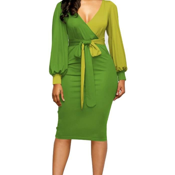 Deessesale®Mode sexy manches longues robe V-cou patchwork populaire pour femmes Vert FLL71213032GN