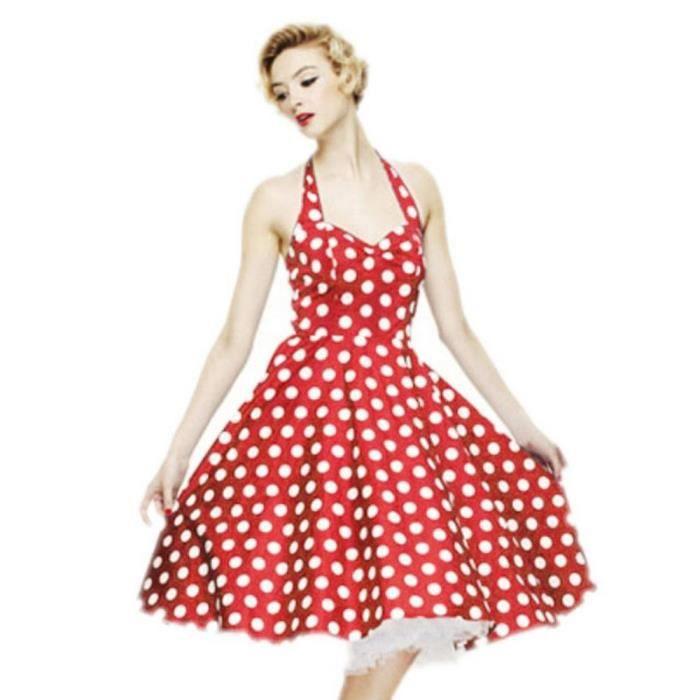Ete Femmes Robe A Pois Vintage Dot Motif Sans Manches Dos Nu Dames Rouge Robe De Bal Femme Dos Nu Robe De Soiree Type M Blanc Achat Vente Robe Cdiscount