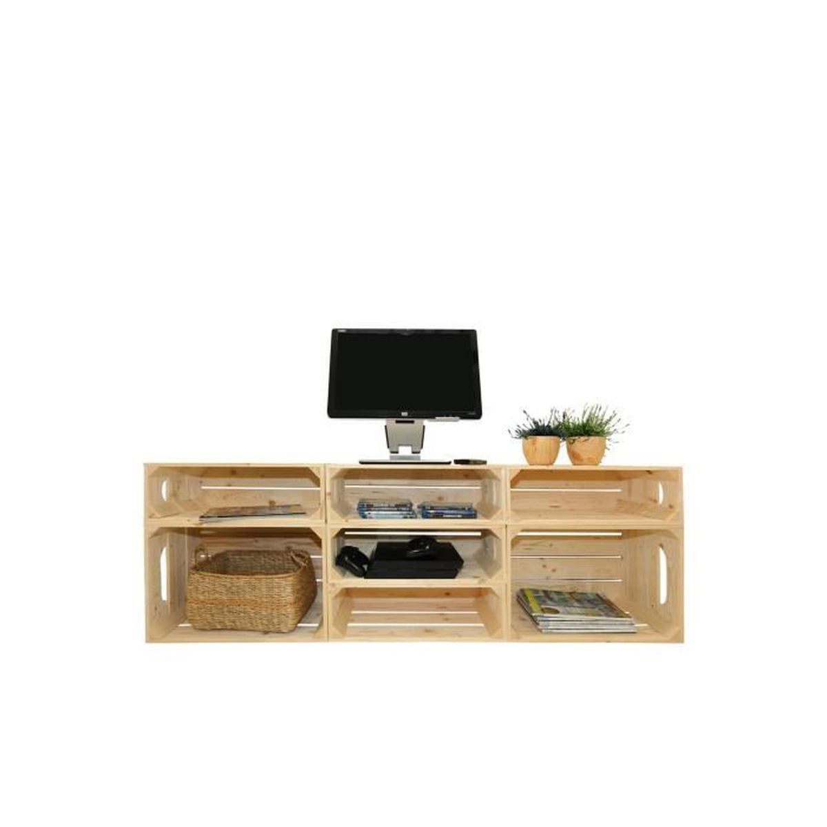 meuble tv 2s5h kit pr t assembler caisses en bois. Black Bedroom Furniture Sets. Home Design Ideas
