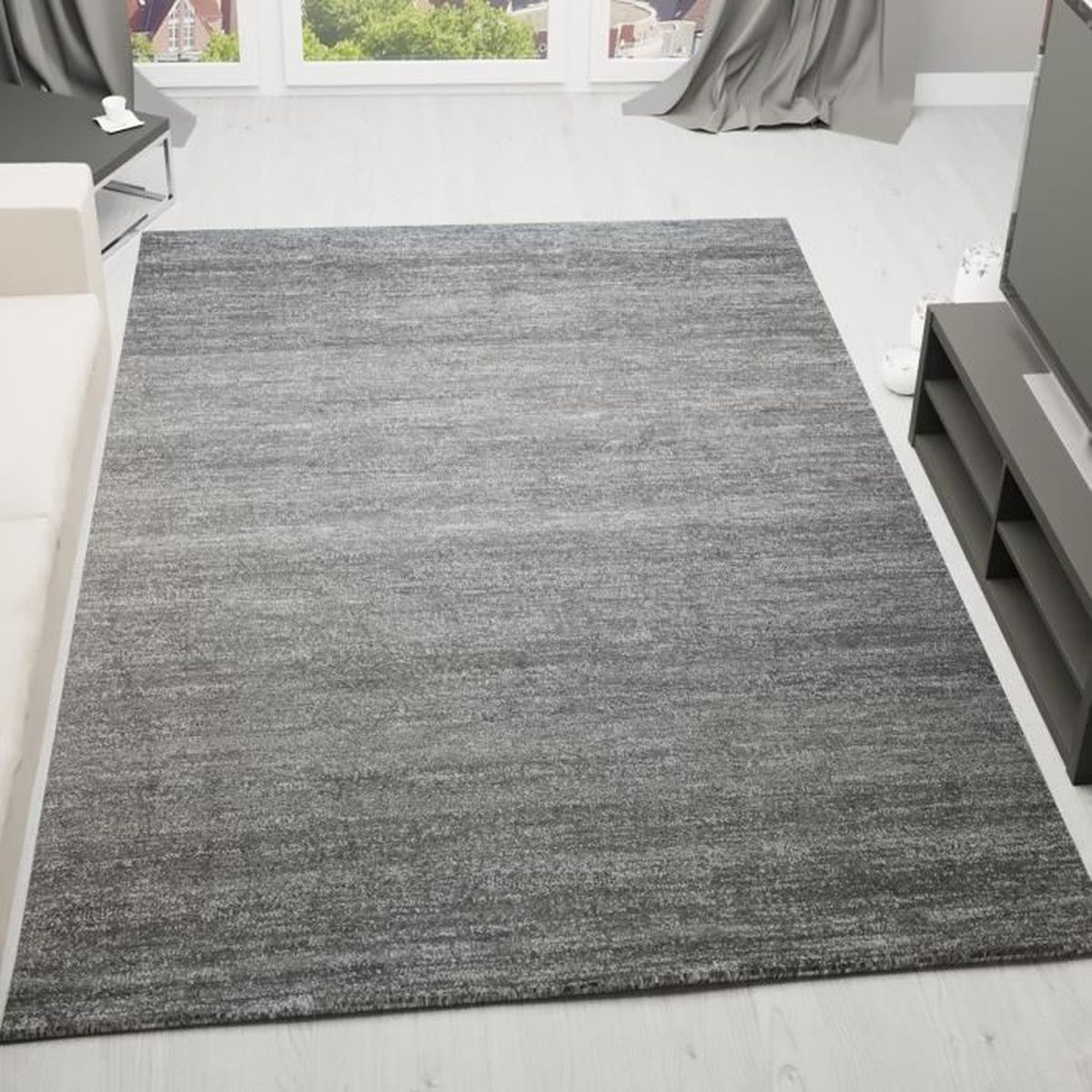 tapis gris et blanc. Black Bedroom Furniture Sets. Home Design Ideas