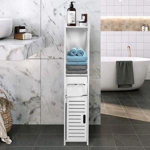 COLONNE - ARMOIRE WC 80 * 15.5 * 15.5CM Armoire de toilette Blanc, Rack
