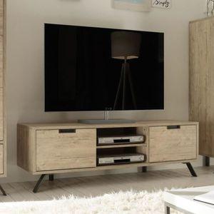 MEUBLE TV Petit meuble tv moderne couleur bois clair JACE