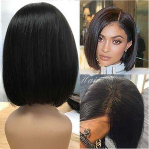 PERRUQUE - POSTICHE Perruque cheveux humain naturel Style Bob lace fro