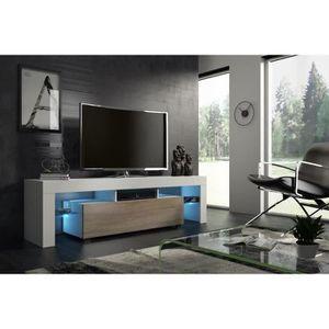 MEUBLE TV Meuble tv 160 cm blanc mat   et chêne MDF  avec le