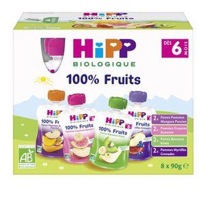 DESSERT FRUITS BÉBÉ HIPP BIOLOGIQUE Gourdes 100% fruits- Fruits variés