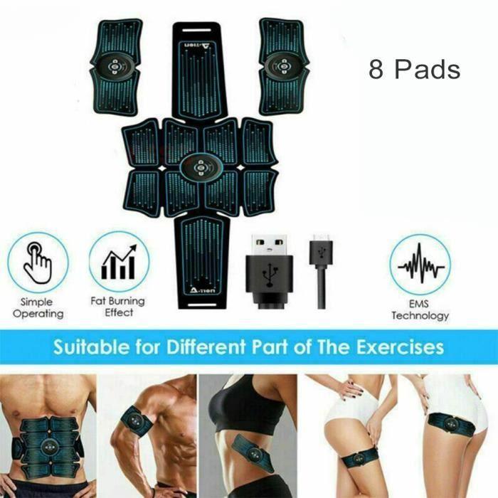Lot de 8 patchs pour musculation abdominaux Ceinture de gymnastiqueentraîneur de muscle abdominal stimulateur de muscle abdominal é