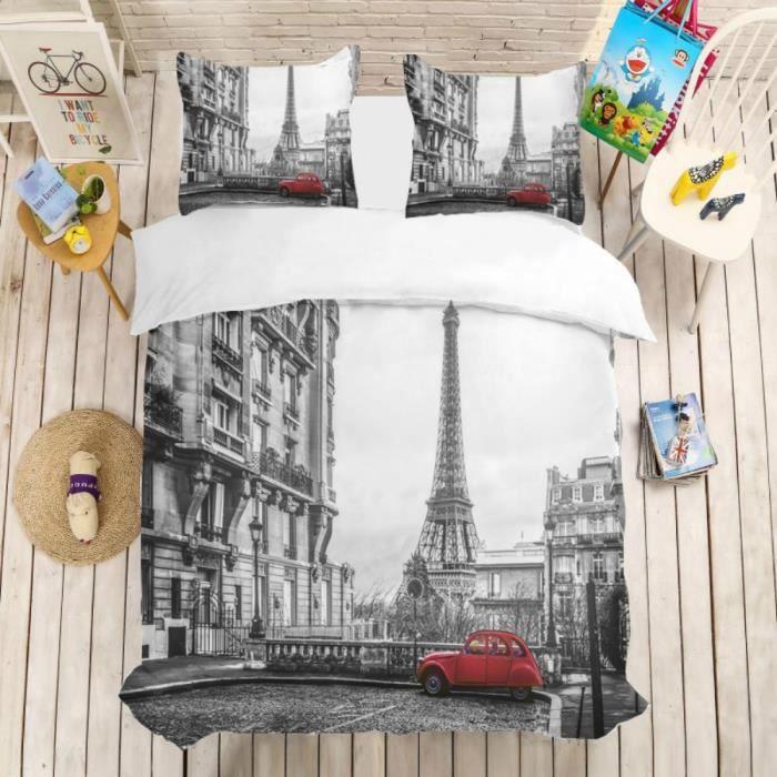 Parure de lit Paris rétro Tour Eiffel voiture rouge 220*240 cm 3D effet 3 pieces fermeture éclair 2 taies d'oreillers 63*63cm