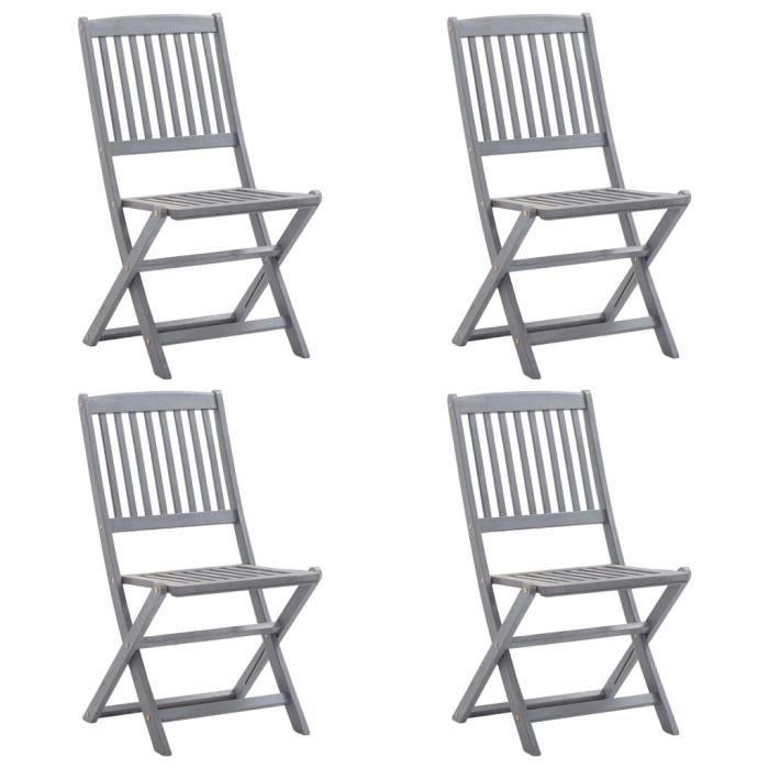 Chaises pliables d'extérieur 4 pcs Bois d'acacia solide ABI #65