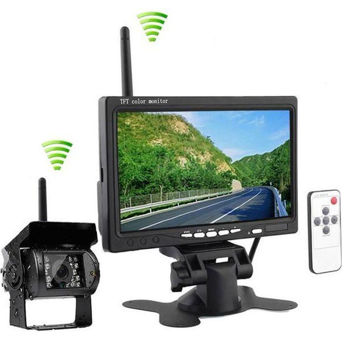 Kit de Surveillance Vidéo Moniteur LCD TFT 7 pouces Caméra de Recul Vision Nocturne Infrarouge Étanche Arrière Sans Fil