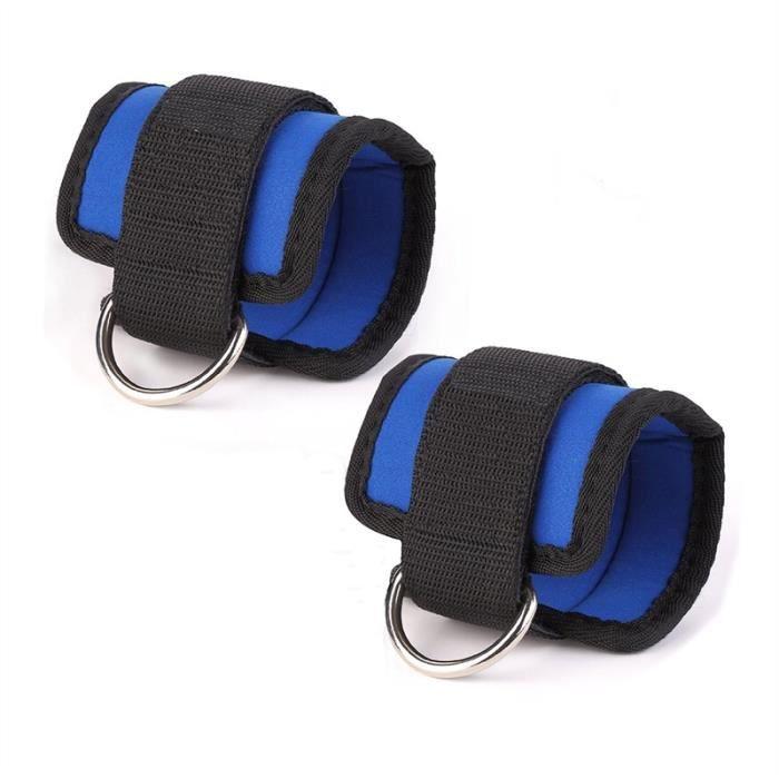 2pcs Sport boucle cheville Gym pour les machines de câble pour Butt et poids des jambes (Bleu)