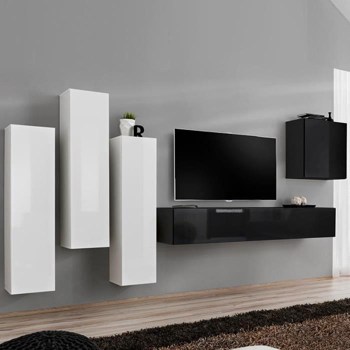 Meuble télé suspendu blanc et noir LORENZO L 330 x P 40 x H 160 cm Blanc