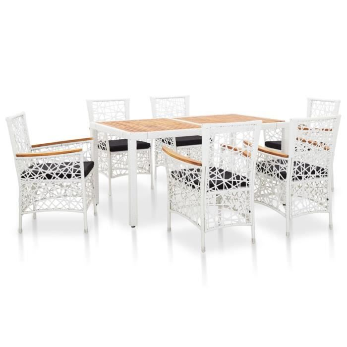 Ensemble de salle à manger d'extérieur design élégant 1 x table+6 x chaises 7 pcs Résine tressée Blanc