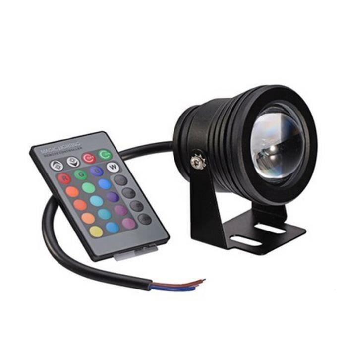 LED 10W lampe de piscine fontaine infrarouge télécommande lampe sous-marine lampe de piscine sept couleurs (coque noire RGB) Em11381