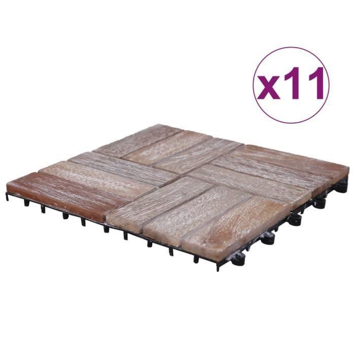 Tuiles de terrasse 11 pcs 30x30 cm Bois de récupération solide ✿ 19384