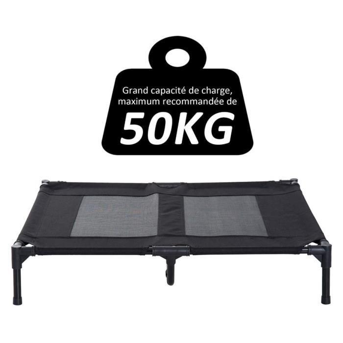 HUGUANGh®Lit sur pieds pour chien chat 92x76x18 cm lit de Camp Animal couleur noir