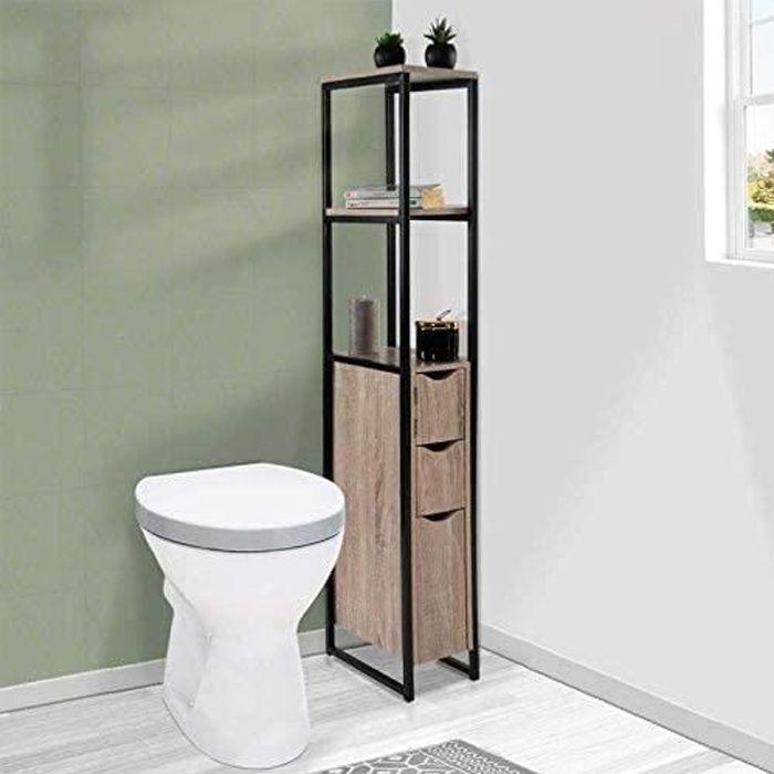 meuble wc 3 portes design industriel avec étagères 125