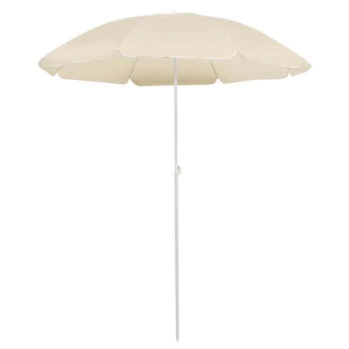 529018 Parasol d'extérieur - Parasol Abri Soleil Plage - Parasol avec mât en acier Sable 180 cm Meuble d'excellent