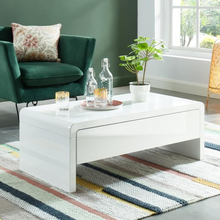 DARWIN Table basse - laqué blanc brillant - L105cm