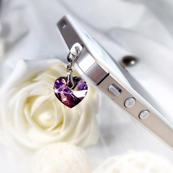 Accessoire Bijoux SmartPhone Coeur orné de cristaux de Swarovski Violet