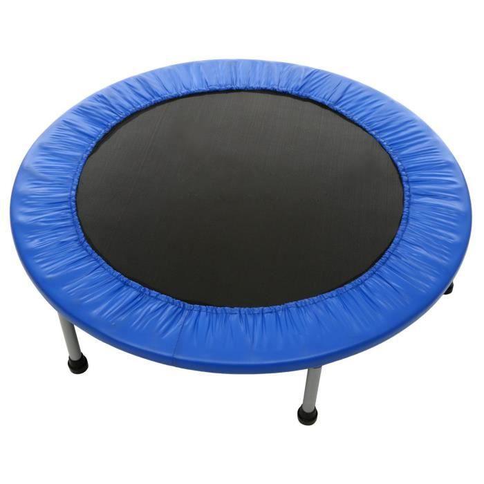 Trampoline pour Usage intérieur & extérieur Sport Fitness Entraînement pliant Bleu 96cm