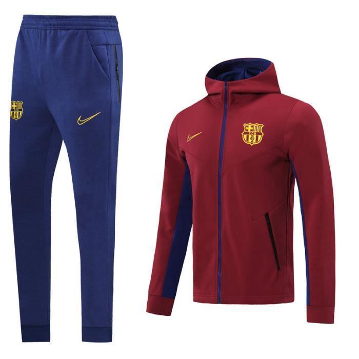 Barca Barcelona - Maillot de Foot Football Veste à Manches Longues 2020 2021 Survêtement Training pour Homme - Rouge