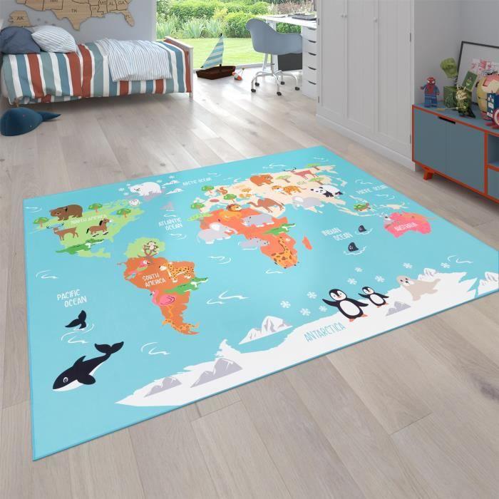 Tapis pour enfants, Tapis de jeu pour chambres d'enfants, Carte du monde avec animaux, En vert [80x150 cm]