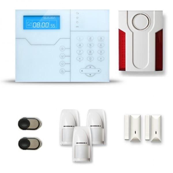 Alarme maison sans fil SHB 2 à 3 pièces mouvement + intrusion + sirène extérieure - Compatible Box internet et GSM